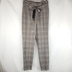 NWOT Express Ankle Cropped Plaid Tie Front Pants